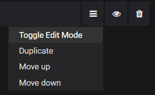 "screenshot of the options menu next to the Grafana query box. ""Toggle Edit Mode"" is highlighted."