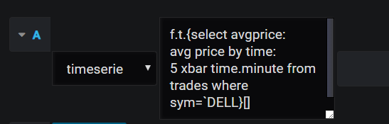 Screenshot showing expanding query box after toggling edit mode. The query shows an anonymous function selecting average price of DELL trades in 5 minute buckets.