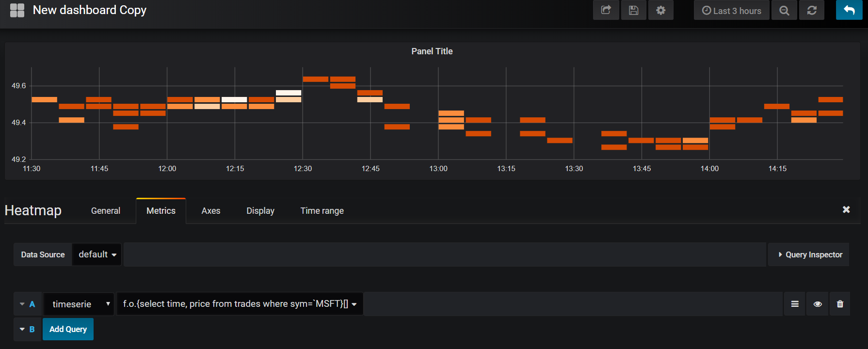 Grafana heatmap panel showing result of calling an anonymous function. The graph shows the frequency of MSFT trades at a range of prices during the day.